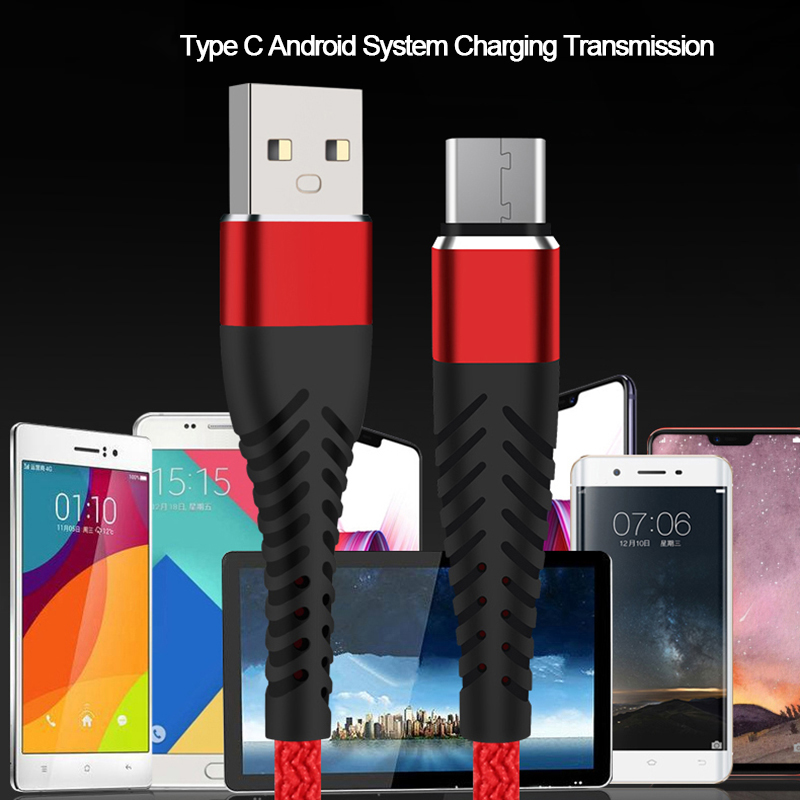 Mobile Phone USB Type C Cable Fast Charge For Samsung Huawei Xiaomi A1 Android Charging Long Short Data Wire Cord 25cm 1m 2m 3m in Mobile Phone Cables from Cellphones Telecommunications