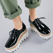 fashion sneakers women lace up genuine leather wedges high heel vulcanized shoes female square toe platform pumps casual shoes 2020 Creepers  Women Lace Up Genuine Leather Wedges High Heel Vulcanized Shoes Female Square Toe Fashion Sneakers Casual Shoes