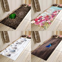 Flower boards, plant-based prints, flannel, non-slippery, absorbent floor mats.