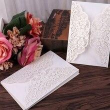 5 шт лазерная резка свадебные пригласительные открытки кружева Элегантная открытка с лентой конверты украшения для свадебной вечеринки