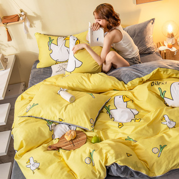 New Cute Fashion Animal Bedding Set Cotton for Girls Luxury With Fitted Sheet Full Size Cartoon Cat Duvet Cover With Pillowcase
