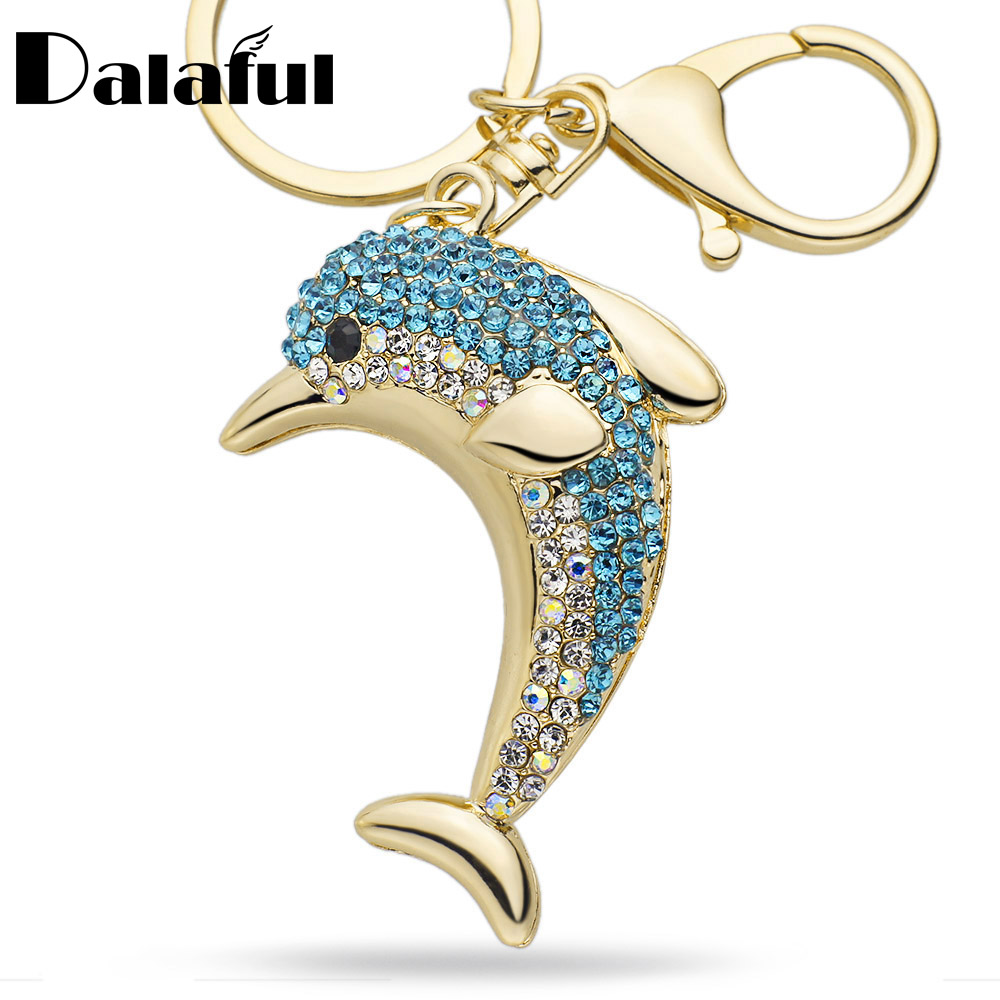 Dalaful Lucky Dolphin Crystal Novelty Animal Trendy Keychain Purse Bag Buckle HandBag Pendant For Car Keyring Holder Women  K228