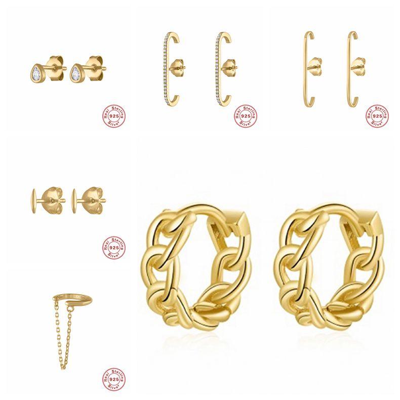 925 Sterling Silver Studs Earrings for Women Gold Silver Color Tiny waterdrop Crystal Zircon Earrings Minimalist Jewelry A30