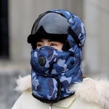 Bomber Hat Glasses Warm-Cap Velvet Russia Winter Plus Unisex Earmuffs Padded Riding RUHAO