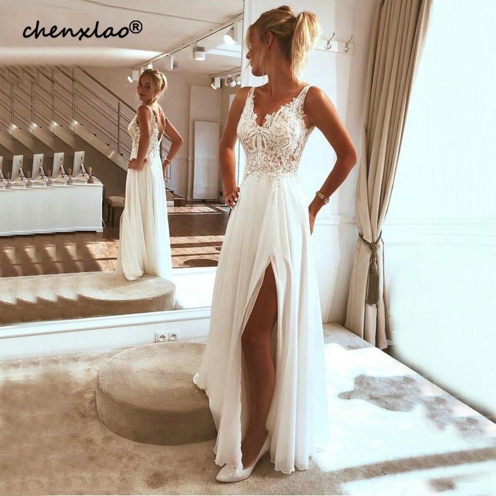 Stylish Boho White Chiffon V Neck Evening Dresses Long Women Lace Applique Formal Dress A Line Side Slit Customized Evening Gown
