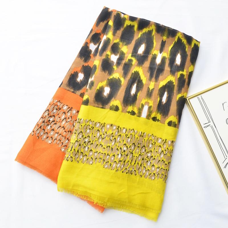 Yellow Gradual Leopard Scarf Spring And Summer Thin Sunscreen Shawl Beach Towel