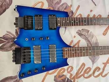 Niebieska podwójna głowica elektryczna gitara elektryczna gitara basowa połączenie nasz sklep może dostosować dowolną gitara basowa lubisz niebieską podwójną głowę el tanie i dobre opinie Rosewood MAHOGANY Nauka w domu Do profesjonalnych wykonań Beginner Unisex CN (pochodzenie) Gitara akustyczna Blokowany klucz