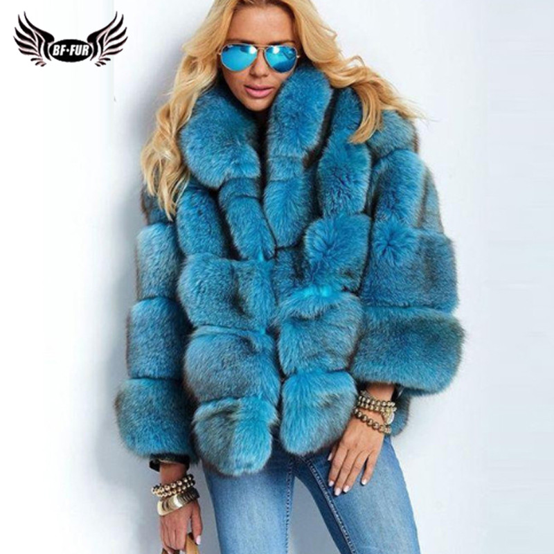 2019 Winter Real Blue Fox Fur Jacket For Women With Stand Collar Genuine Leather Pelt Fox Fur Coat Thick Warm Overcoat Woman