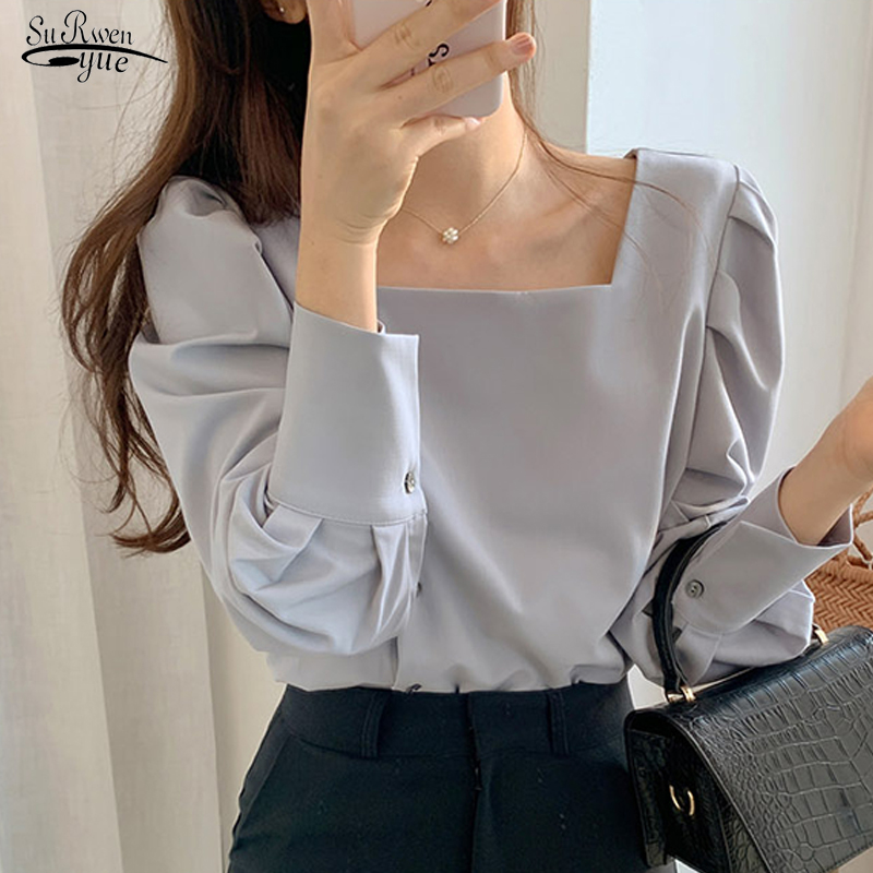 2020 Square Collar Lantern Sleeves Solid Blouse Women Casual Button Loose Office Lady Women Shirts Blusas Mujer De Moda 8746 50