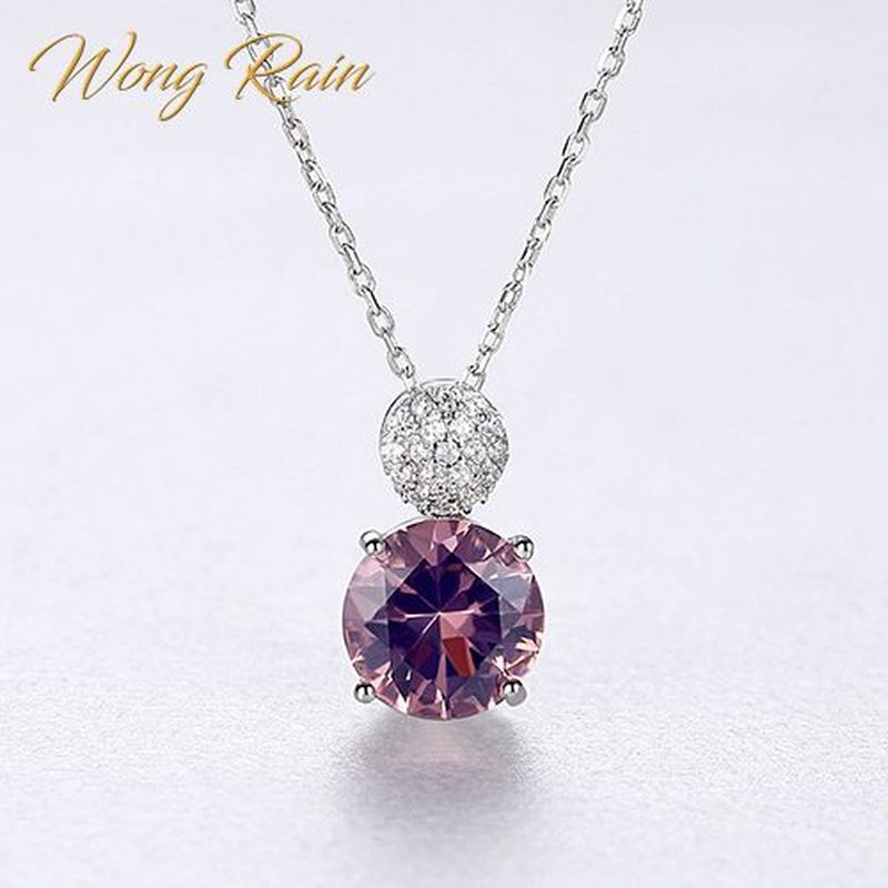 Wong Rain New 100% 925 Sterling Silver Created Moissanite Morganite Wedding Engagement Pendent Necklace Fine Jewelry Wholesale