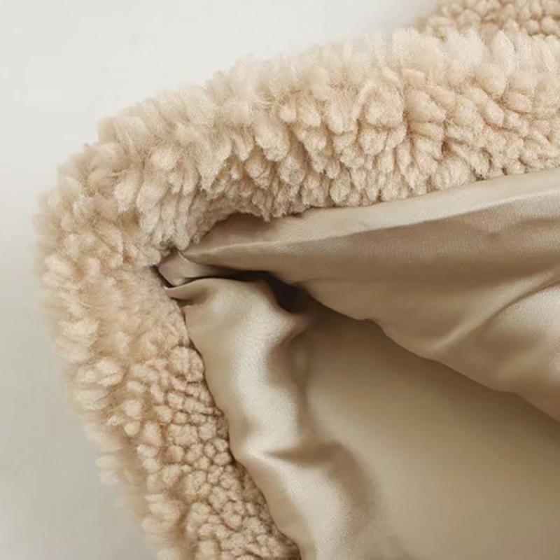 Décontracté Teddy manteau femmes hiver tourner vers le bas col mode fourrure veste solide à manches longues grande taille manteaux vêtements d'extérieur nouveauté 2019 - 5