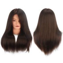 18 дюймов, коричневые, 100% натуральные человеческие волосы, тренировочные волосы, парикмахер, голова манникина, Кукольная голова, длинные вол...