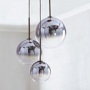 Image 2 - بلوبل الحديثة قلادة ضوء الفضة الذهب التدرج كرة زجاجية معلقة مصباح Hanglamp ضوء مطبخ تركيبات غرفة المعيشة الطعام