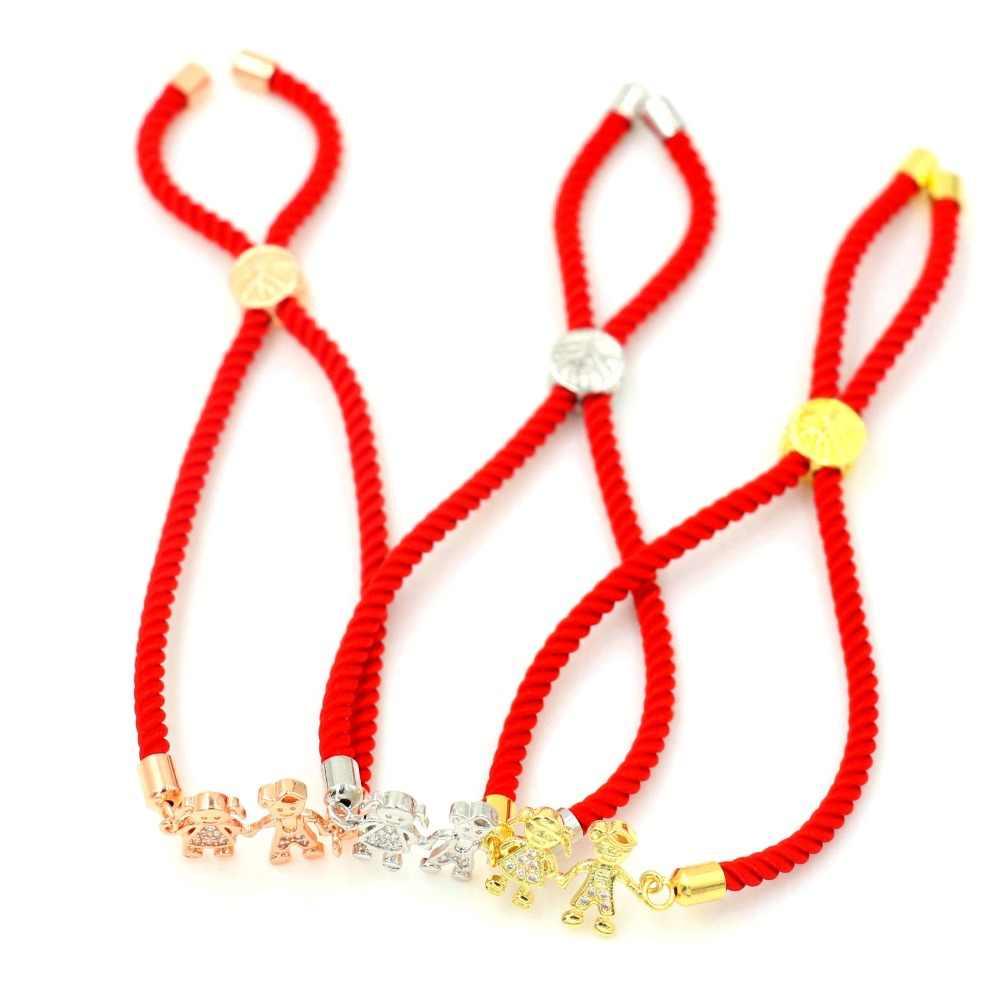 マイクロインレイジルコン女性少年少女ブレスレット赤糸ロープ幸運恋人ブレスレット調節可能な手をつないでゴールドジュエリー