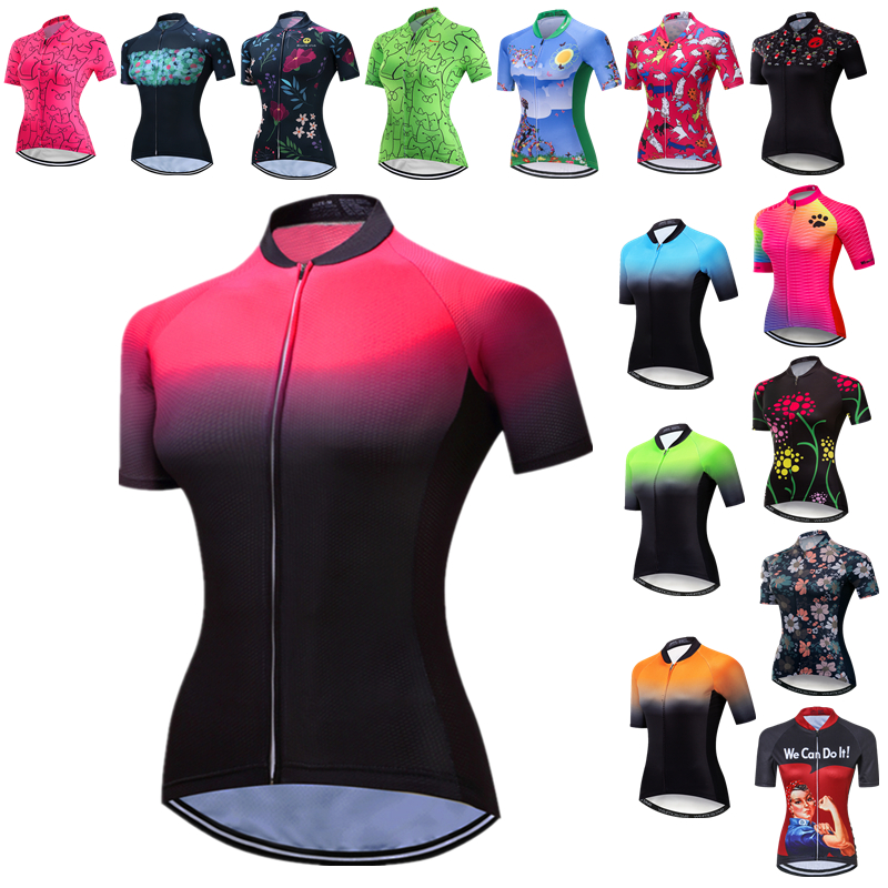 Weimostar Uniform Cycling Jersey Women Short Sleeve MTB Bike Jersey Tops Summer Bicycle Shirt Road Cycking Clotihng Maillot