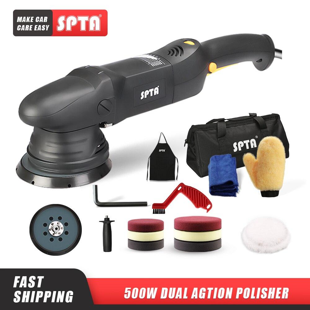 SPTA 5inch & 6inch 500W Car Polisher 15mm Dual Action Polisher DA Polisher Home DIY Polisher Machine with Sponge Polishing Pads