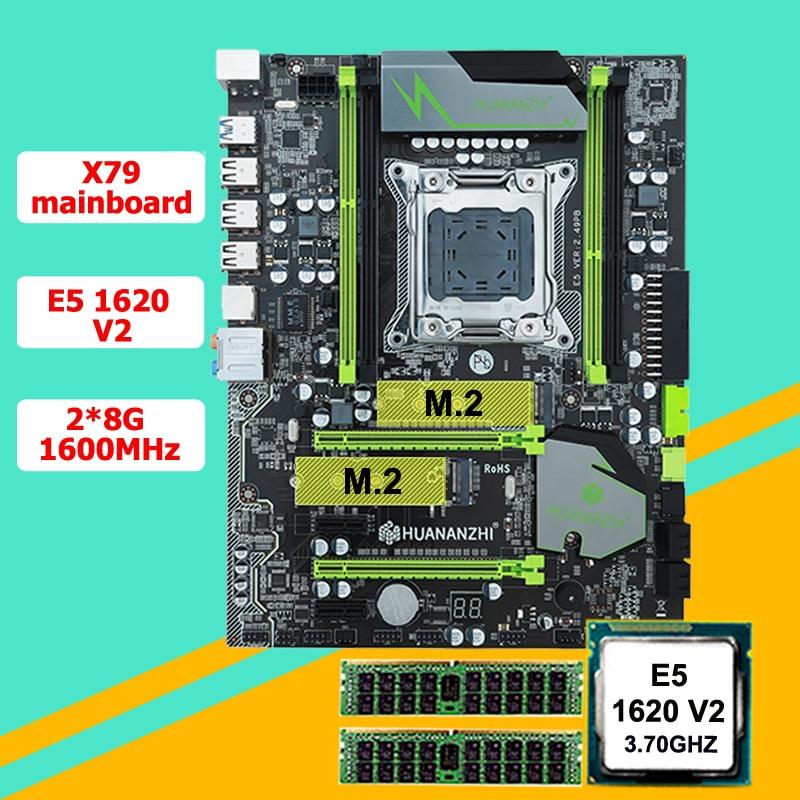 Incrível motherboard pacote HUANAN ZHI X79 motherboard com M.2 E5 1620 V2 slot de CPU Intel Xeon 3.7GHz (2 * 8G) 16G 1600 RECC