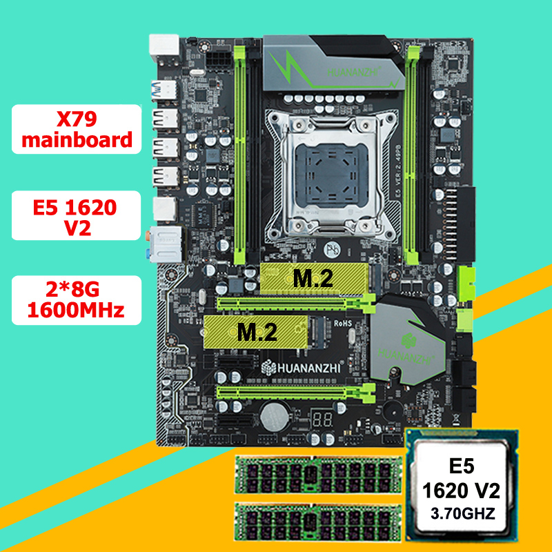 Incredible motherboard bundle HUANAN ZHI X79 motherboard with M.2 slot CPU Intel Xeon E5 1620 V2 3.7GHz (2*8G)16G 1600 RECC