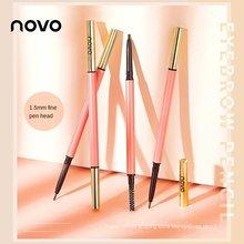 Novo novo lápis de sobrancelha giratória, recarga muito fina, à prova dwaterproof água e suor, fácil de aplicar maquiagem, com escova de sobrancelha