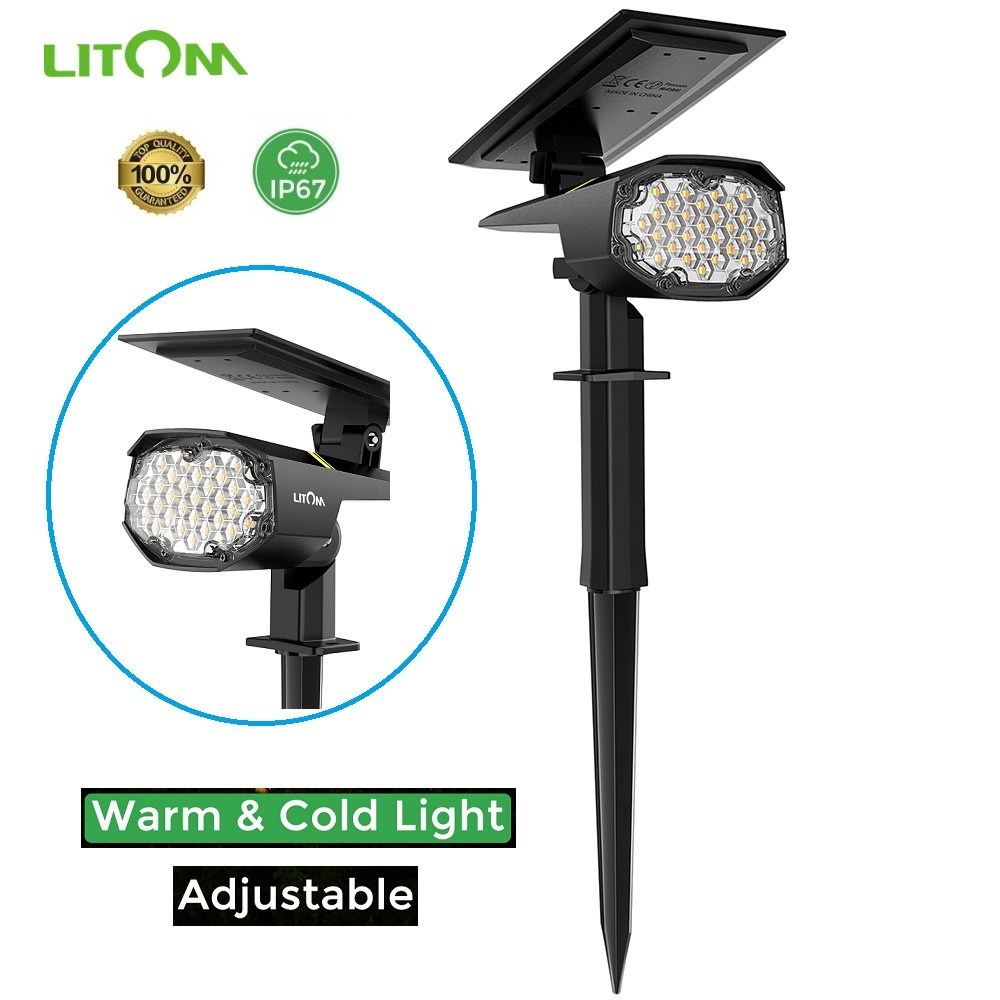 New LITOM 30 LED Solar Garden Light Upgraded IP67 Waterproof Landscape Lamp Cold&Warm Motion Sensor Adjustable Solar Spotlights