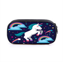 Unicorn pencil bag large zip large waterproof pencil capacity bag compartment supplies cartoon stationery school Oxford case pen(China)