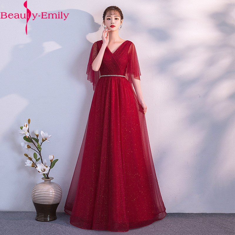 Sexy V Neck Flare Sleeve A Line Evening Dress 2020 Fashion Sequined Laced Up Back Many Colors Availavle Formal Party Dress