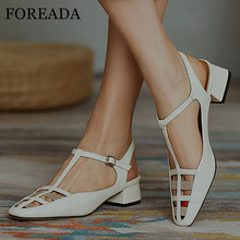FOREADA Natural Genuine Leather Slingbacks Shoes T-tied High Heels Buckle Chunky Heel Footwear Square Toe Female Pumps White 40 foreada woman high heels natural genuine leather slingbacks shoes buckle stiletto heel footwear pointed toe lady pumps beige 40