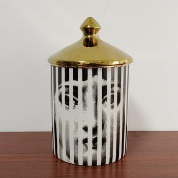 Lady Face Candle Holder Human Face Jar Candelabra Retro Storage Bin Ceramic Cafts Home Decoration Jewerlly Storage Box 11