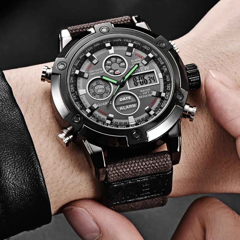 Fashion Big Dial Military Watch Men Nylon Waterproof Outdoor Sport Quartz Digital Watch Army Male Clock Relogio Masculino 6