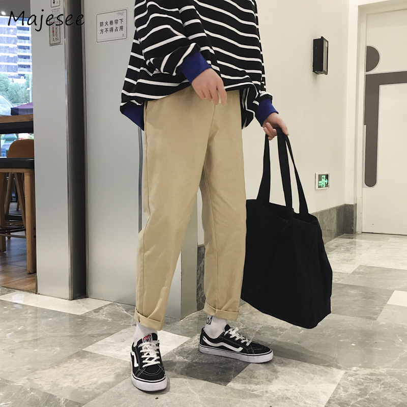 Pants Men 2020 Solid Simple All-match Korean Style Pockets Straight Cargo Pant Mens Large Size Leisure Daily Students Trousers