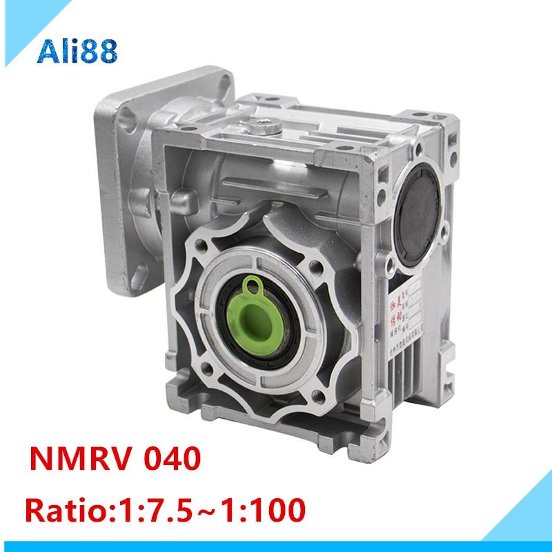 NMRV040 wurm getriebe 1:7. 5/10/15/20/25/30/40/50/60/80/ 100 verhältnis 14mm eingang welle Getriebe Minderer für NEMA34 motor