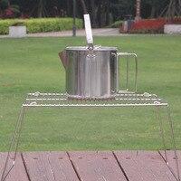 Outdoor Camping Mini Einfachen Klapp Halterung Herd Rack Ultra Licht Tragbare Backen Rack BarbecueStainless Stahl Topf Grill Kopf -