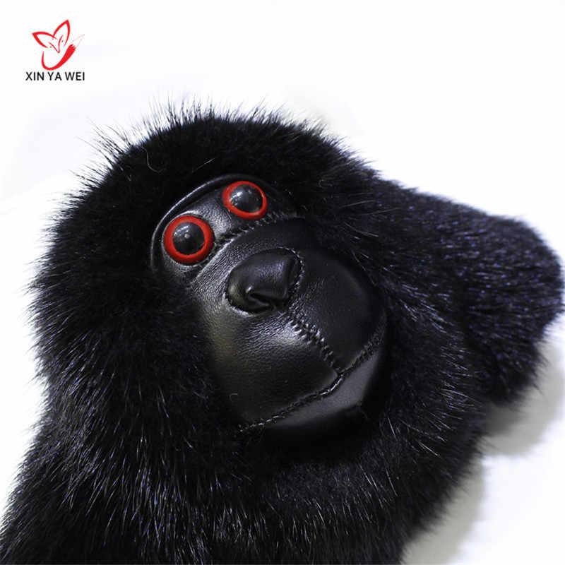 Moda linda piel de visón mono de peluche llavero cadena colgante Animal mujer bolso encantos borla coche llavero fiesta anillo regalo