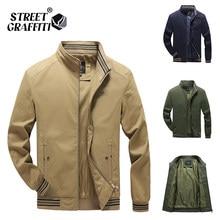 2021 outono jaquetas masculinas 100% algodão casual moda sólida fino bombardeiro golfe casaco de beisebol alta qualidade M-5XL jaqueta