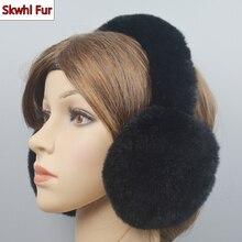 Outdoor Windproof Winter Warm Women Rex Rabbit Fur Earmuffs Rex Rabbit Fur Earmuff Lovely Girl Genuine Rex Rabbit Fur Ear-caps