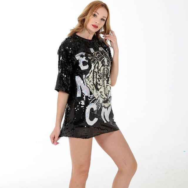 BLINGSTORY Sequin t-shirt femmes Hip Hop Bling broderie lettre tigre hauts amples discothèque