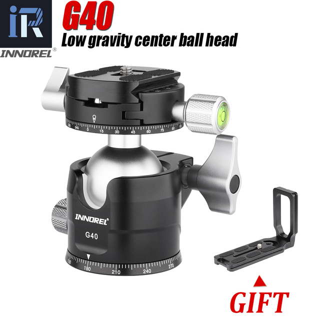G34/G40 Professional Tripod Ball Head Low Profile Gravity Center Double Panoramic Ballhead with L Q.R.Plate for Digital Cameras