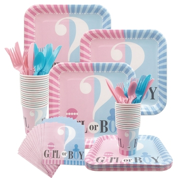 Gender Reveal Party Tableware Set Girl Or Boy Plates Cups Pink Blue Disposable Decoration Supplies
