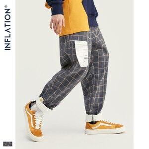 Image 2 - אינפלציה מותג רטרו משובץ צמר גברים מכנסיים Harajuku Loose ישר מקרית גברים מכנסיים 2020 AW רחוב סגנון זכר מכנסיים 93362W