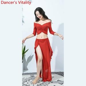 Image 5 - Hot Sales Vrouwen Team Top Sexy Split Rok 2 Stuk Buikdans Set Oosterse Indian Dancer Prestaties Tonen Kleding Podium dragen