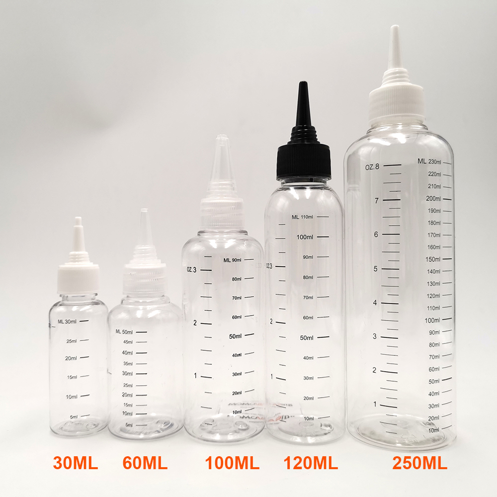 3pcs/Pack 30ml 60ML 100ml 120ml 250ML Capacity E-liquid Bottle Dropper Bottle With Scale E Juice Refill Bottles