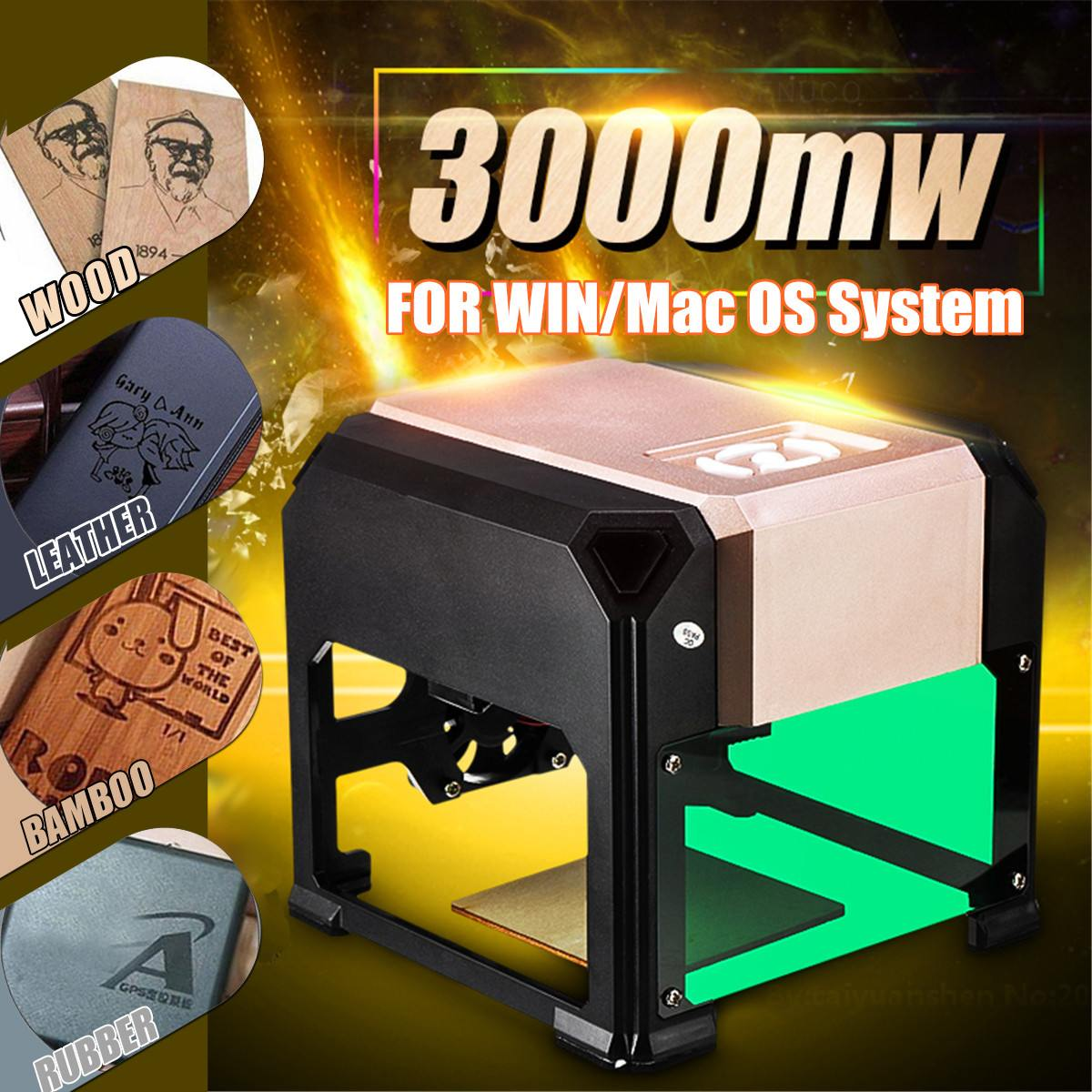 3000mW CNC Laser Carving Machine DIY Carving Engraver Compact Desktop Laser Engraving Machine Logo Mark Printer