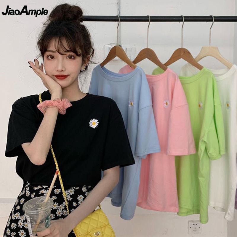 Daisy Embroidery Short Sleeve T-shirt for Women Korean Sweet Girls Flower Loose Leisure Tops Ins Fashion Simple Joker Clothings 1