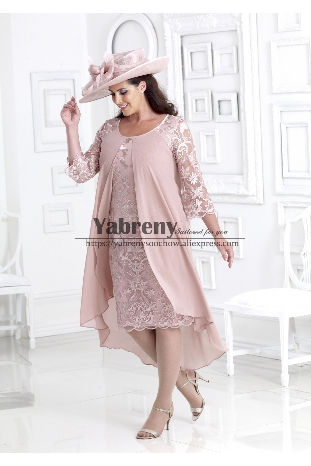 Plus Size Mother Of The Bride Lace Dress With Chiffon Overlay Pink