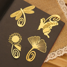 8 pcs/Lot Golden feather bookmark Beautiful flowers leaves page clip Fresh Stationery Office School supplies FC409