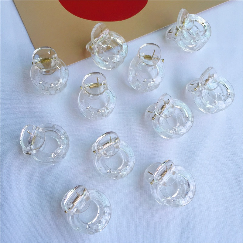 15pcs Clear Cute Small Hair Clips Claw For Girls Hair Accessories Transparent Mini Hair Claw For Kids 3CM Children's Hair Crabs