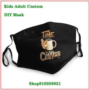 High Quality Fashion Sloth Coffee Time washable reusable face mask adult mascarillas de tela lavables con filtro