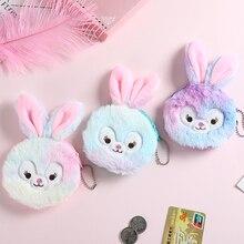 Cute bunny Girl Coin Purse Children Rainbow Fur Rabbit Wallet Small Earphone Bag New Keychain Card Holder