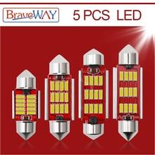BraveWay 5 sztuk żarówka LED C5W C10W Super Bright 4014 SMD błąd Canbus bezpłatne żarówka do lampki we wnętrzu samochodu Car Styling 31mm 36mm 39mm 41mm