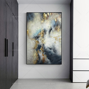High Quality Gray Yellow Golden Blue Abstract Dreamlike Shading Method Oil Painting Canvas Handmade Painted Home Decor Artwork(China)